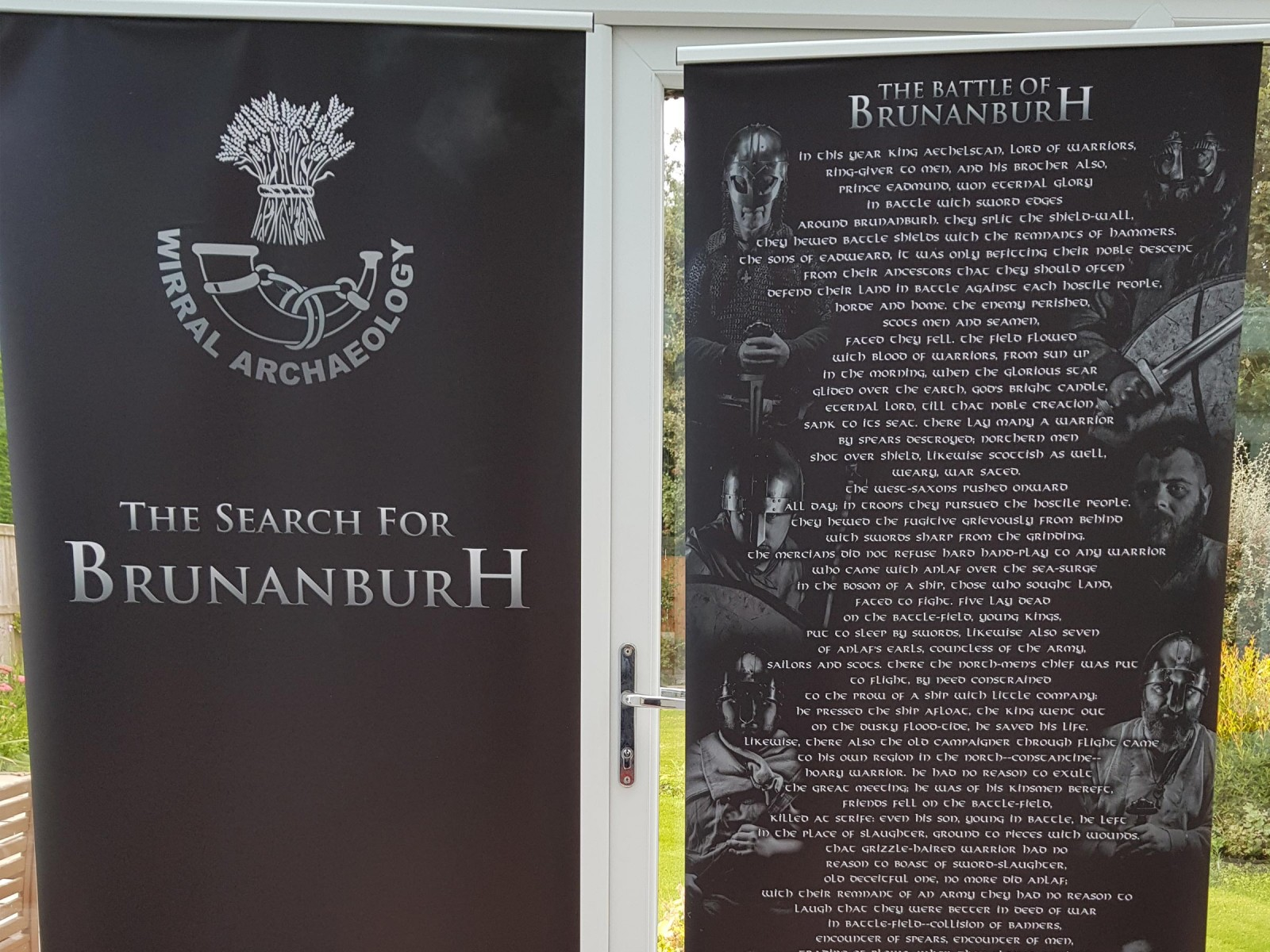 Wirral Archaeology banner relating  the 'battle of Brunanburh' poem.