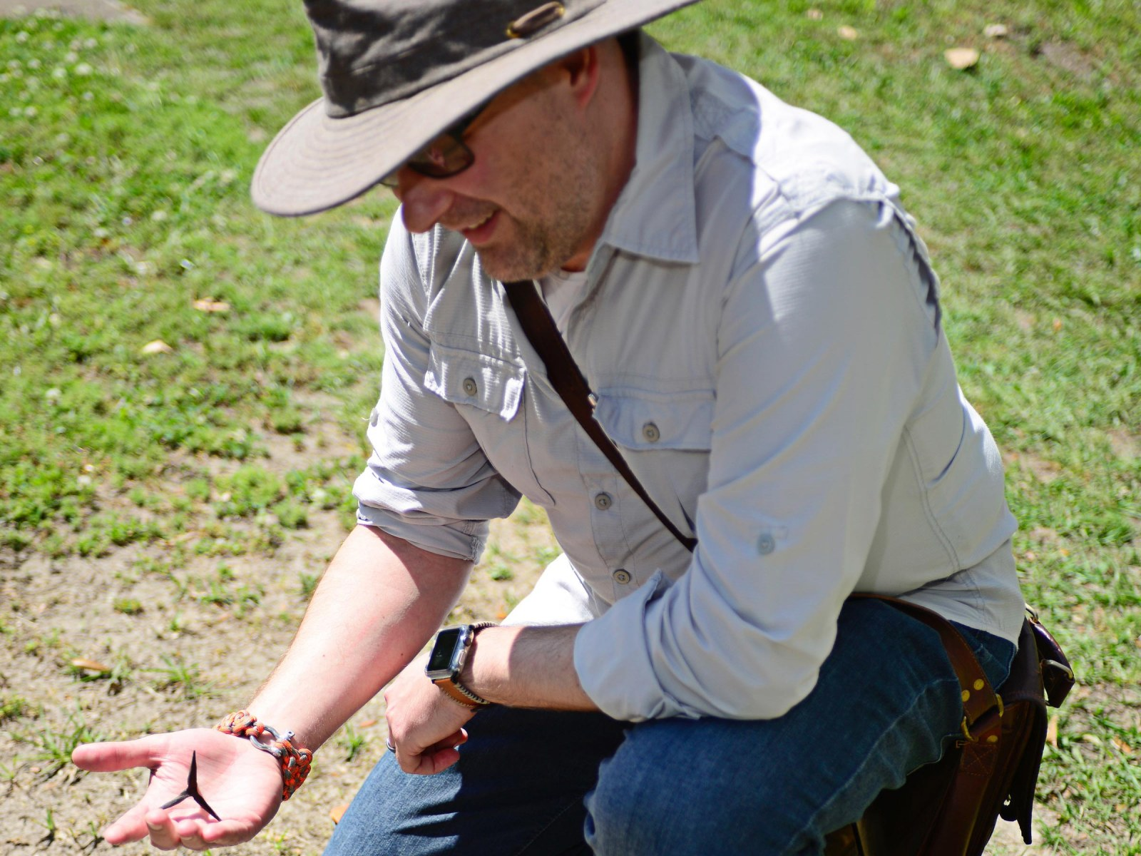 Michael Livingston holding a caltrop