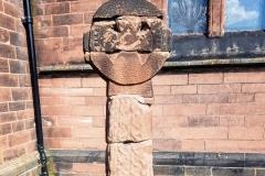 The reconstructed cross.  St Barnabas   church. Bromborough.
