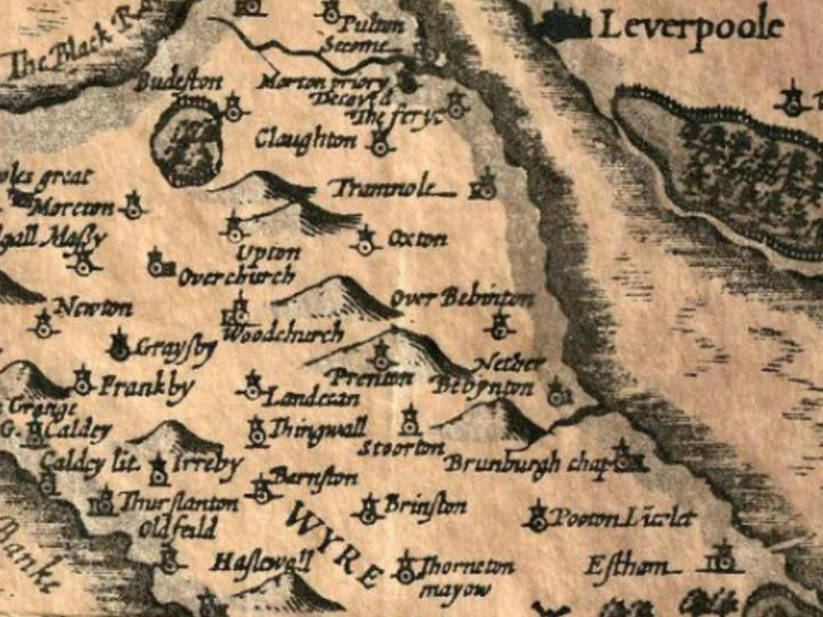 Map of the Wirral. 1611